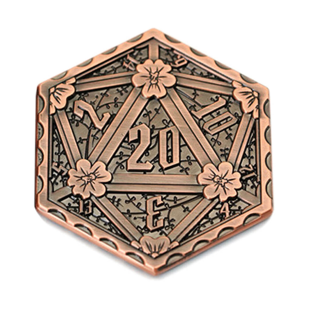 Copper Metal d20 Coin