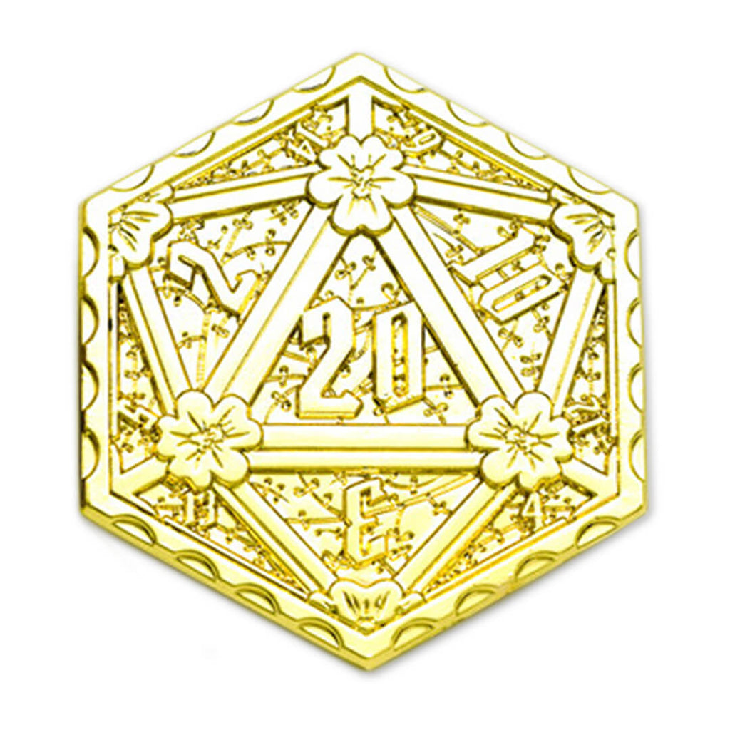 Shiny Gold Metal d20 Coin