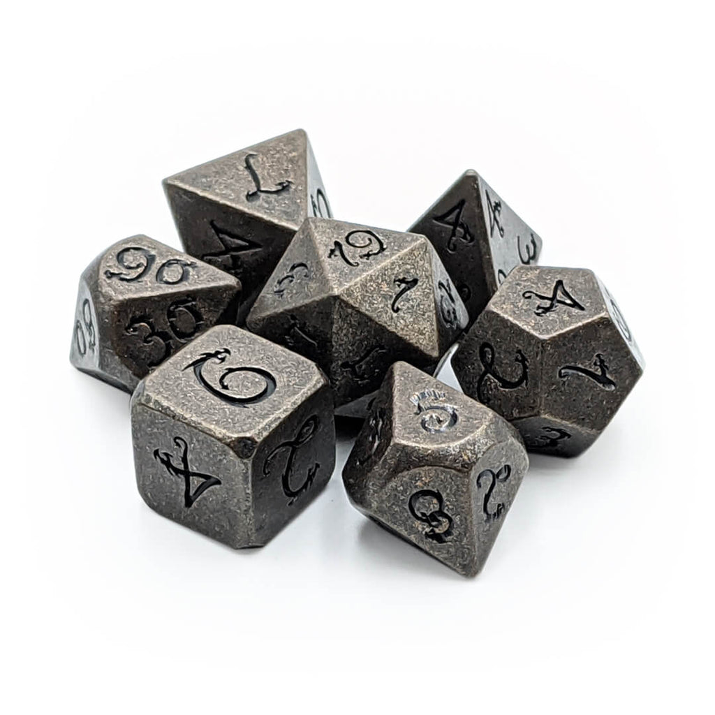 Ancient Copper Draconic Metal 7 Dice Set