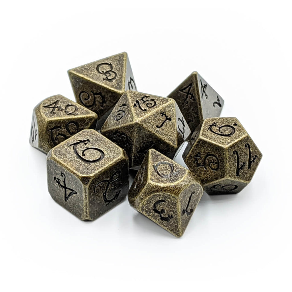 Ancient Gold Draconic Metal 7 Dice Set