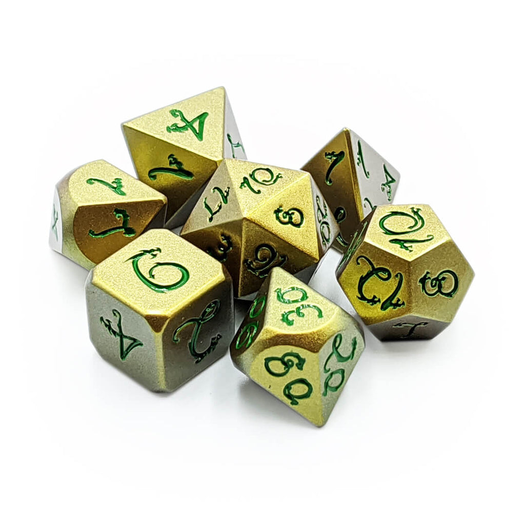 Yellow/Gold with Green Light Changer Draconic Metal 7 Dice Set