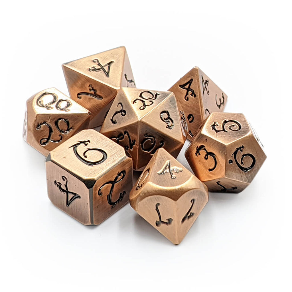 Old Copper Draconic Metal 7 Dice Set