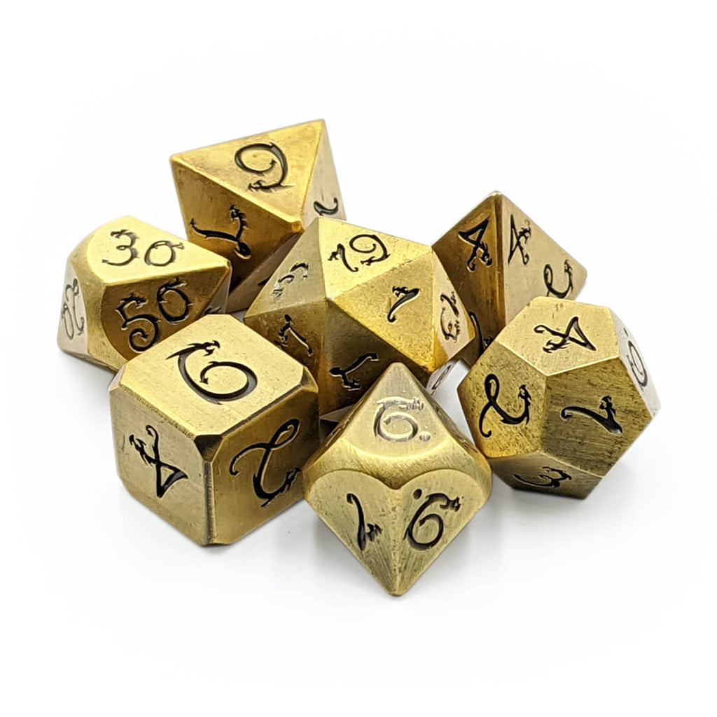 Old Gold Draconic Metal 7 Dice Set