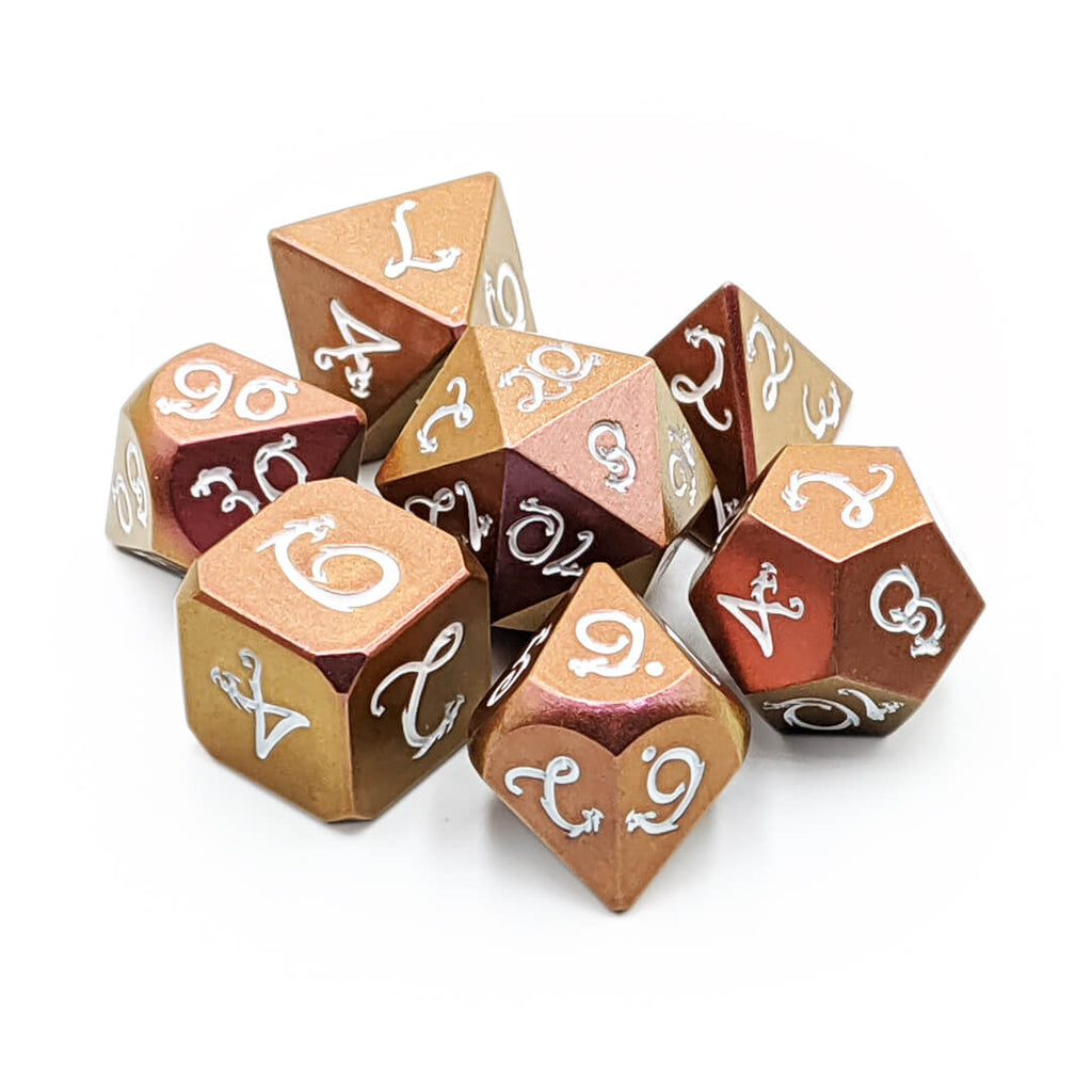 Orange/Magenta with White Light Changer Draconic Metal 7 Dice Set
