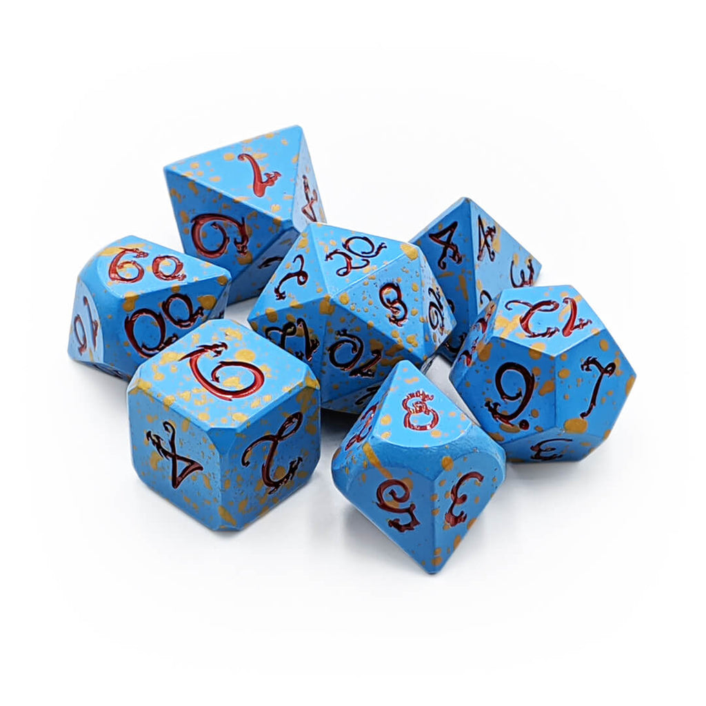 Blue Splatter with Red Draconic Metal 7 Dice Set