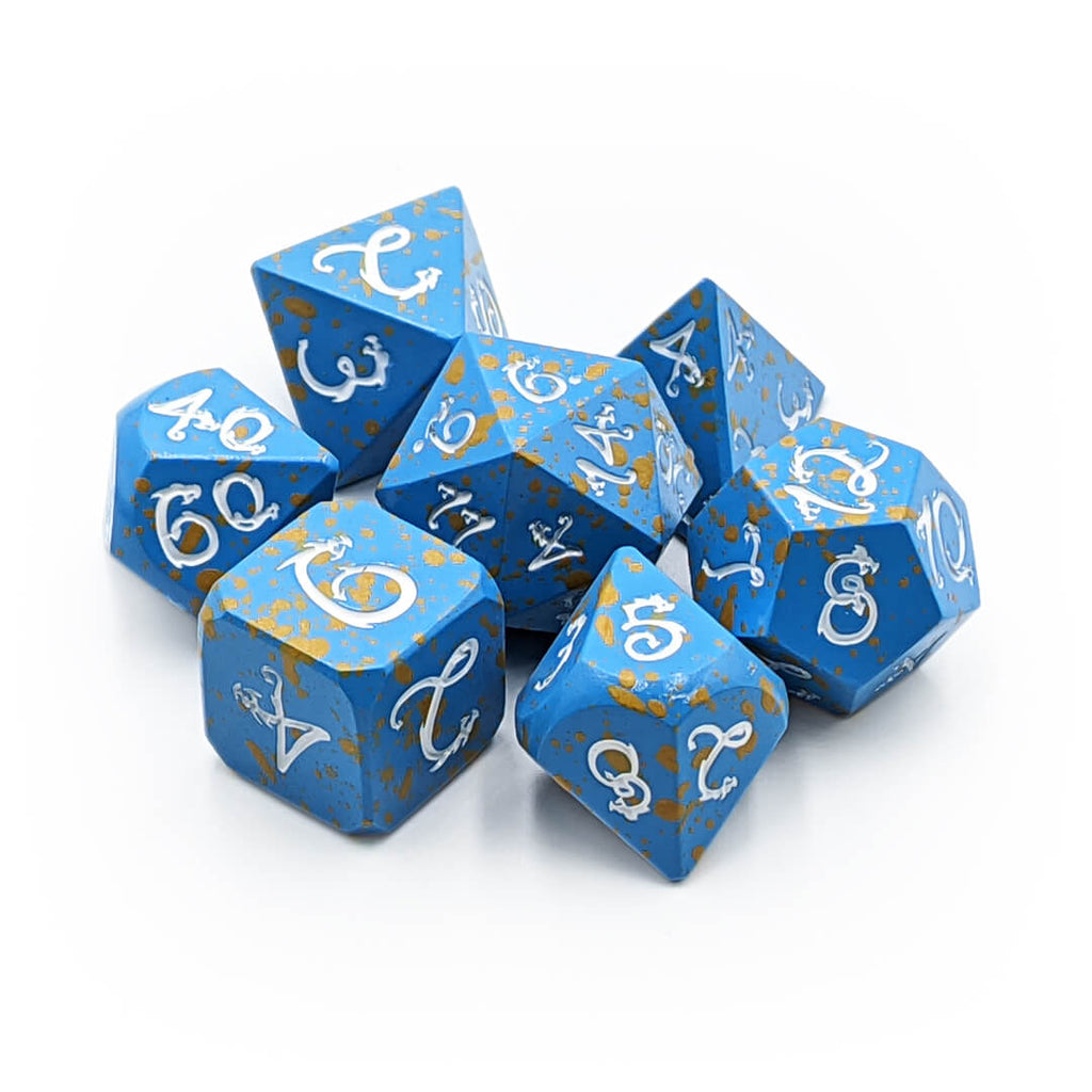Blue Splatter with White Draconic Metal 7 Dice Set