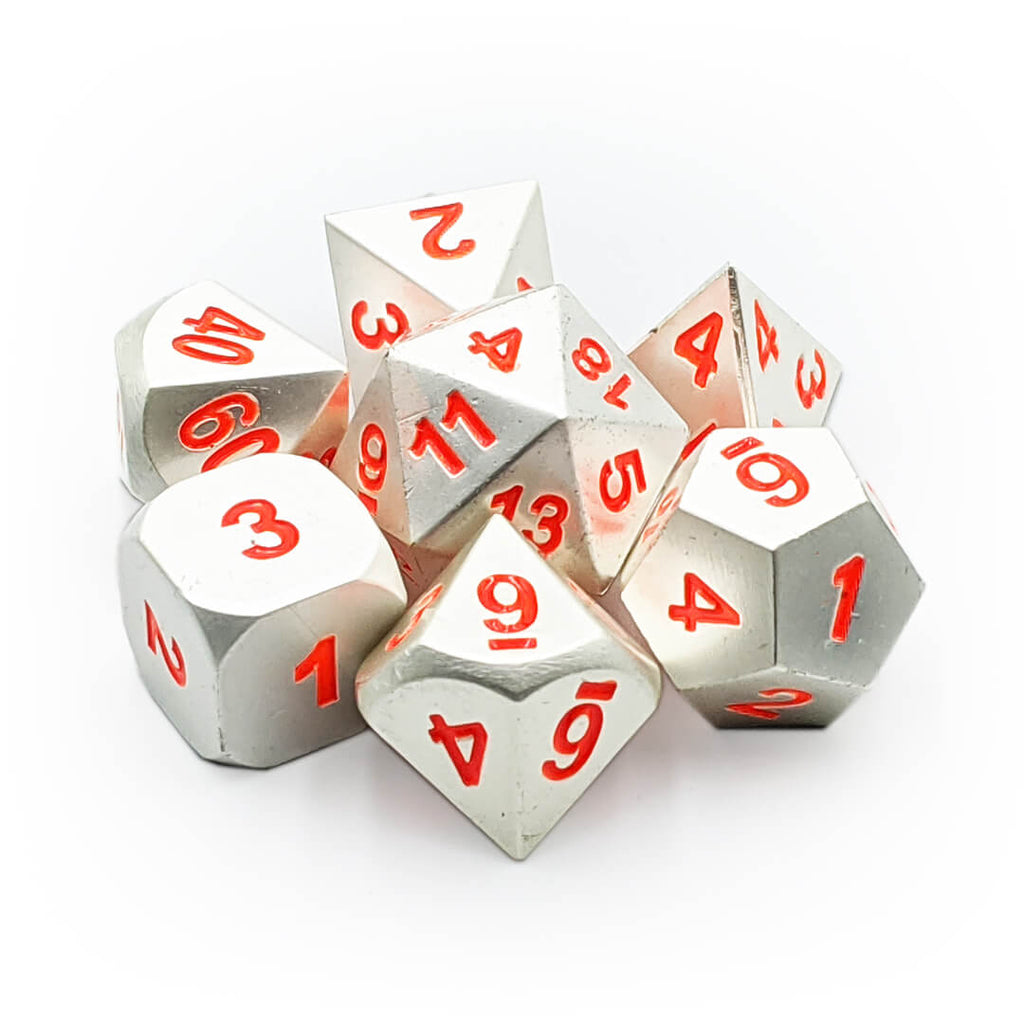 Metal 7 Dice Set - Mithril + Orange