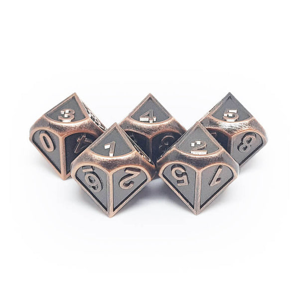 Metal 5d10 Dice Set - Ornate - Old Copper - Imaginary Adventures