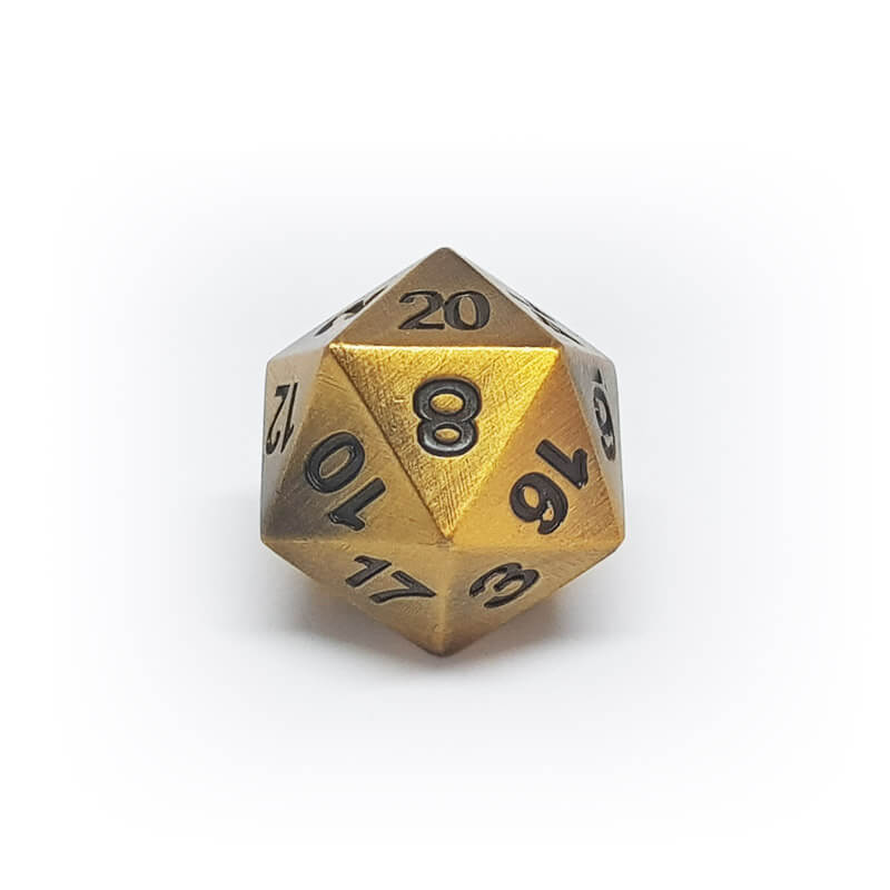 Metal d20 - Old Gold - Imaginary Adventures