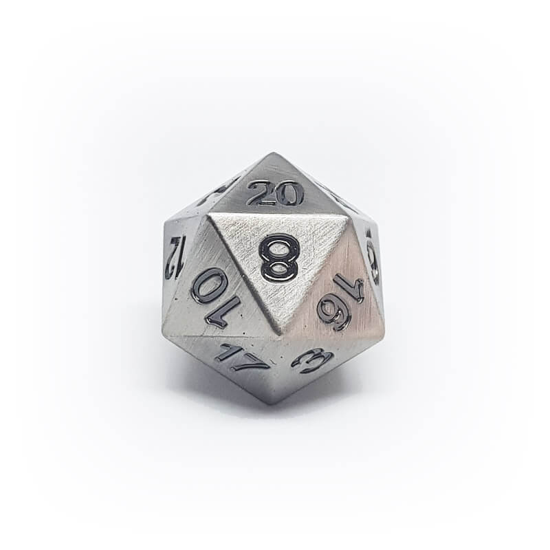 Metal d20 - Old Silver - Imaginary Adventures