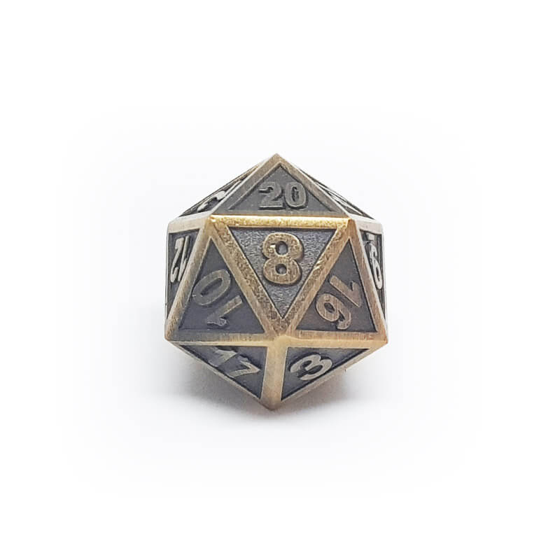 Metal d20 - Ornate - Old Gold - Imaginary Adventures