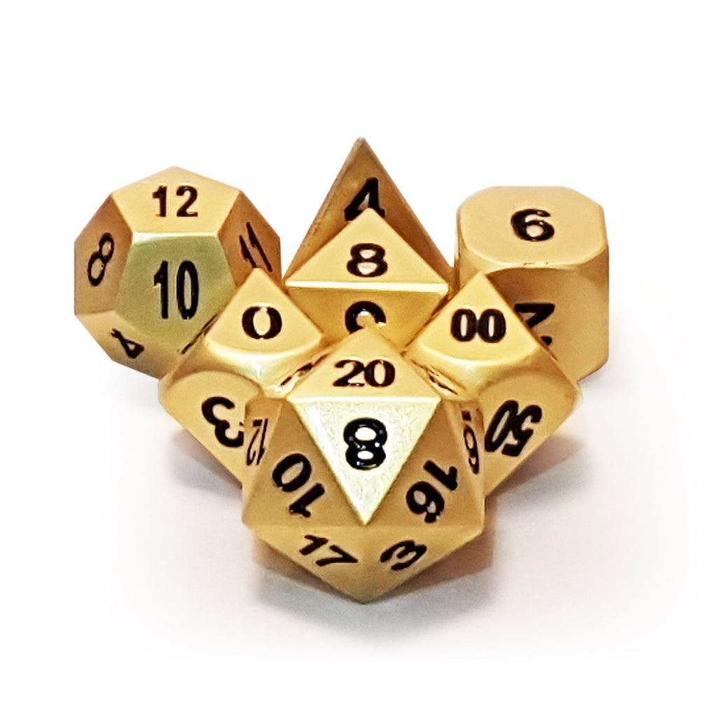 Metal 7 Dice Set - Gold - Imaginary Adventures