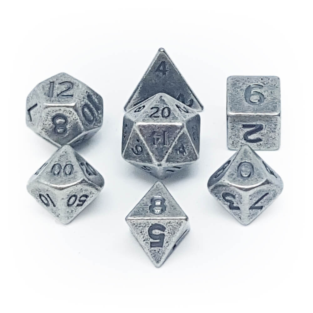 Mini Metal 7 Dice Set - Ancient Silver - Imaginary Adventures