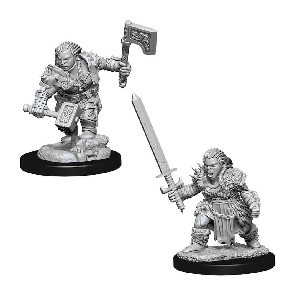 Pathfinder Deep Cuts Unpainted Minis - Female Dwarf Barbarian