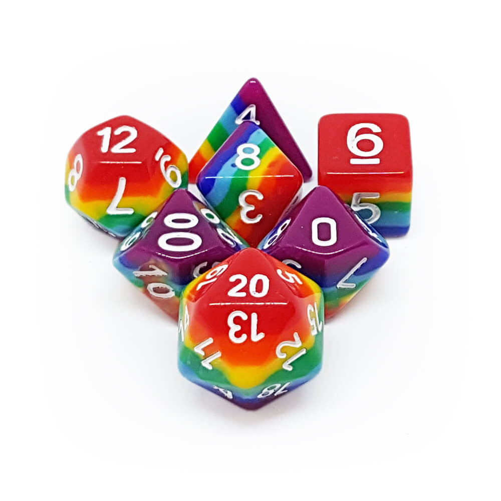 7 Dice Set - Bright Rainbow - Imaginary Adventures