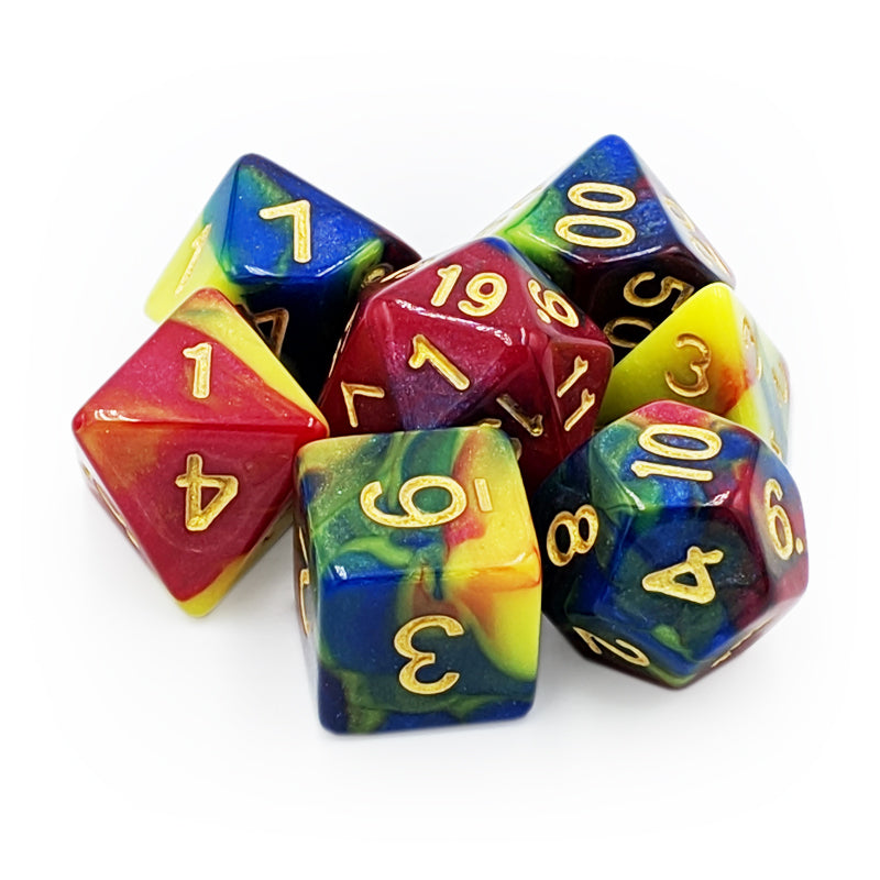 7 Dice Set - Paint Swirl - Imaginary Adventures