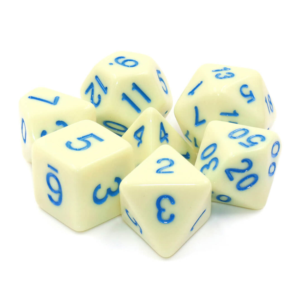 7 Dice Set - Eggshell with Blue