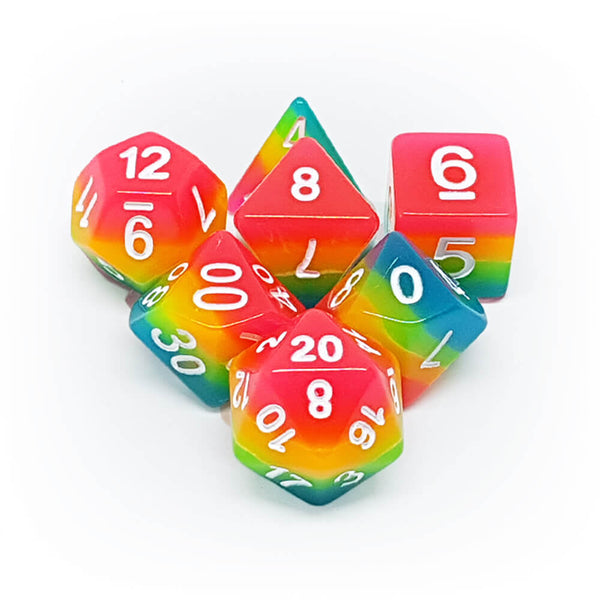7 Dice Set - Glowing Rainbow - Imaginary Adventures