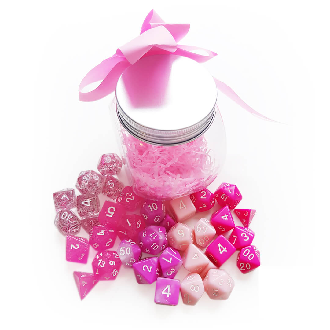 Pink Dice Set Jar
