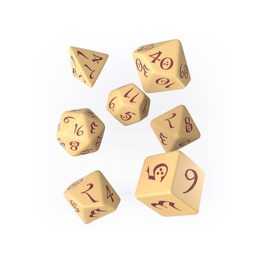 Q-workshop Classic 7 Dice Set - Beige & Burgundy - Imaginary Adventures