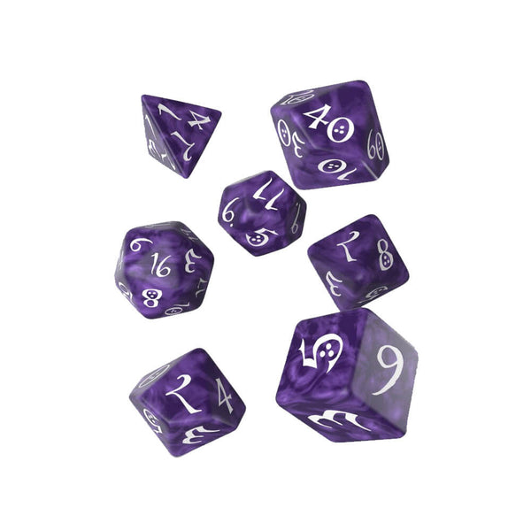 Q-workshop Classic 7 Dice Set - Lavender & White