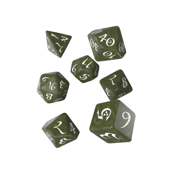 Q-workshop Classic 7 Dice Set - Olive & White