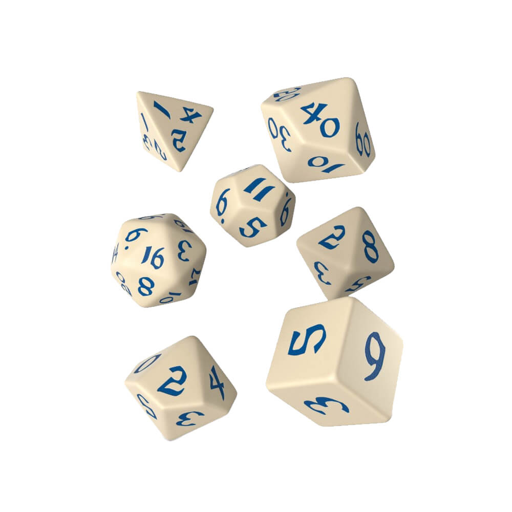 Q-Workshop Classic Runic Beige & Blue Dice Set - Imaginary Adventures