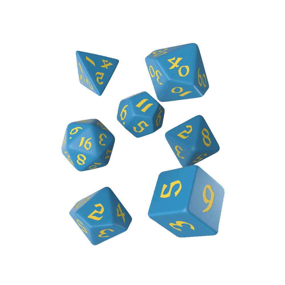 Q-Workshop Classic Runic Blue & Yellow Dice Set - Imaginary Adventures