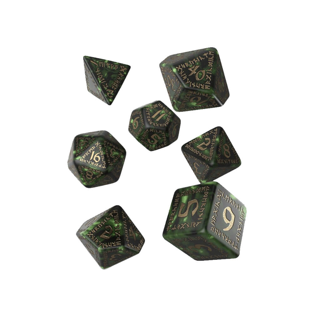 Q-workshop Runic 7 Dice Set - Bottle Green & Gold