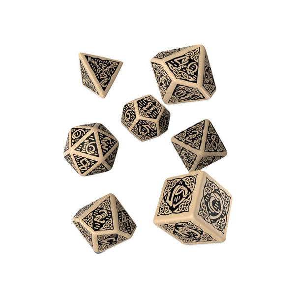 Q-workshop Celtic 3D Revised 7 Dice Set - Beige & Black - Imaginary Adventures
