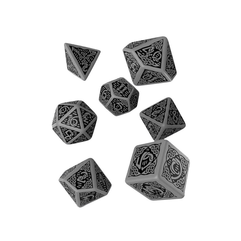 Q-workshop Celtic 3D Revised 7 Dice Set - Grey & Black - Imaginary Adventures