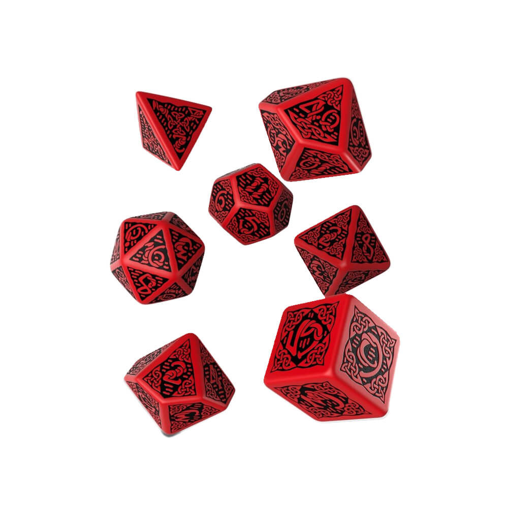 Q-workshop Celtic 3D Revised 7 Dice Set - Red & Black - Imaginary Adventures