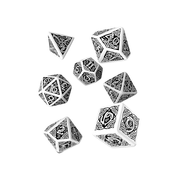 Q-workshop Celtic 3D Revised 7 Dice Set - White & Black - Imaginary Adventures