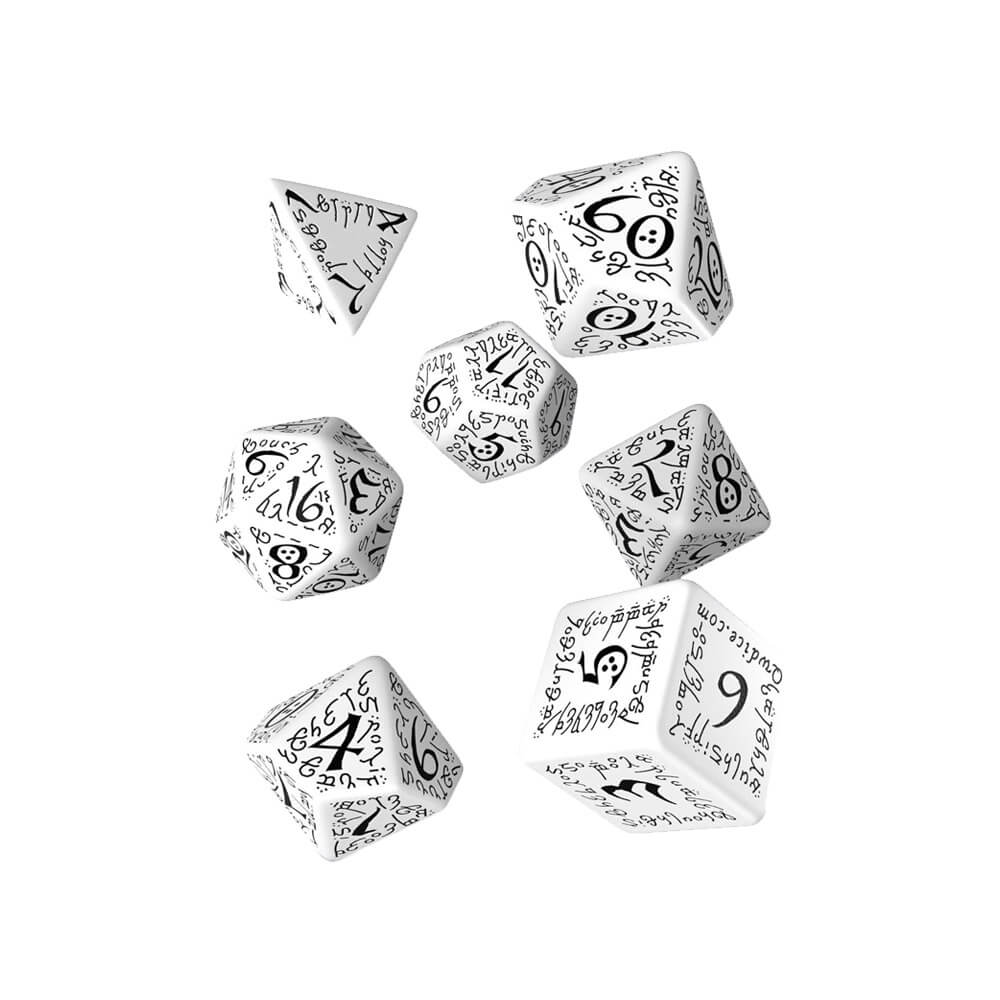 Q-workshop Elvish 7 Dice Set - White & Black - Imaginary Adventures