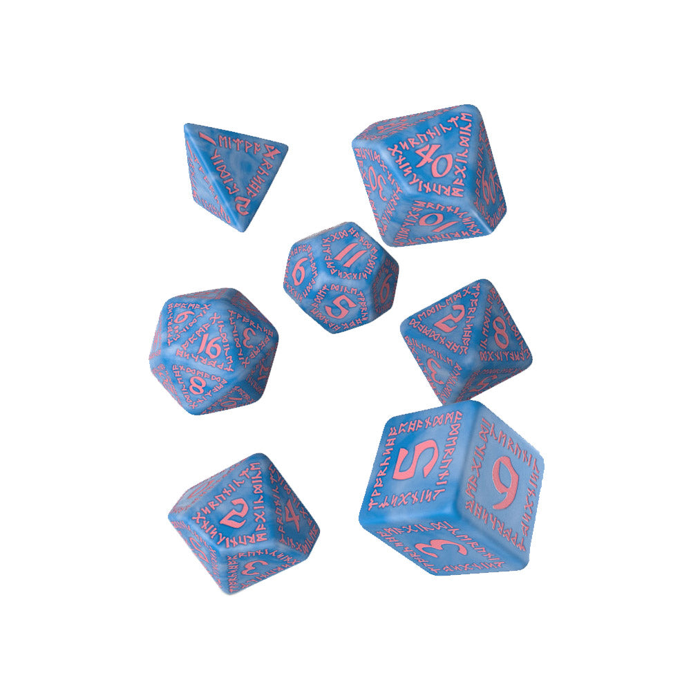 Q-workshop Runic 7 Dice Set - Glacier Blue & Pink - Imaginary Adventures