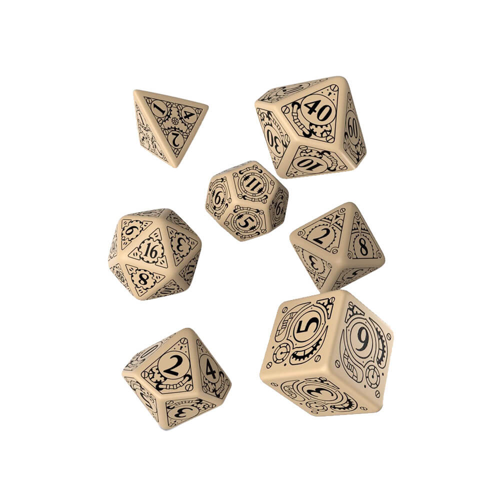 Q-workshop Steampunk Clockwork 7 Dice Set - Beige & Black - Imaginary Adventures