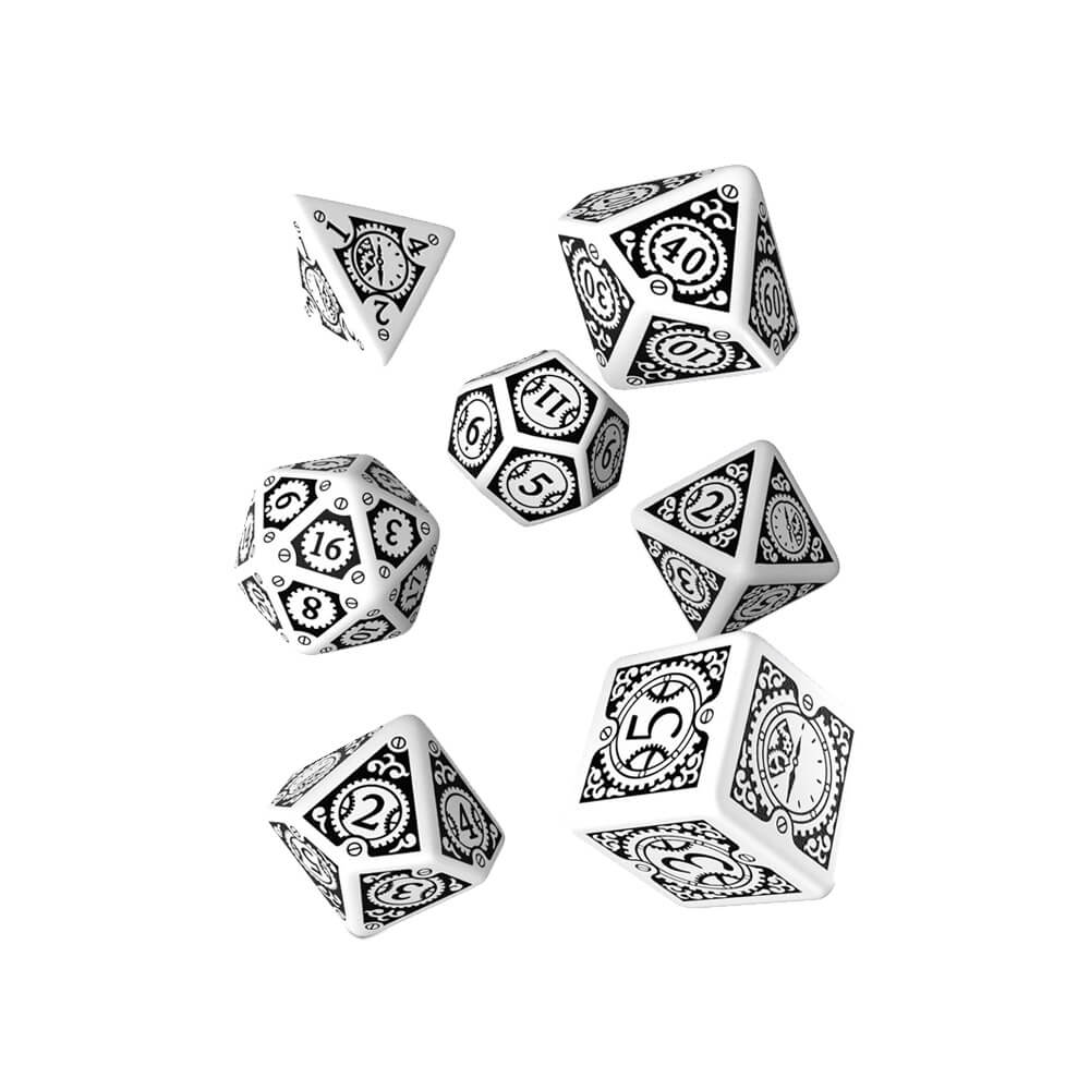 Q-workshop Steampunk Clockwork 7 Dice Set - White & Black - Imaginary Adventures