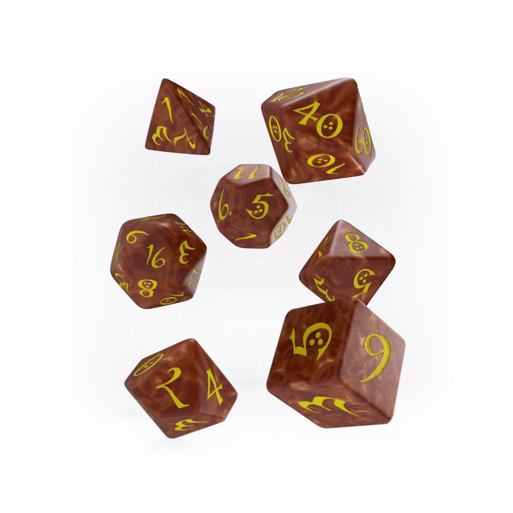 Q-workshop Classic 7 Dice Set - Caramel & Yellow - Imaginary Adventures