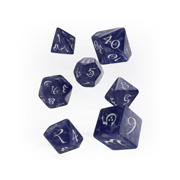 Q-workshop Classic 7 Dice Set - Cobalt & White - Imaginary Adventures