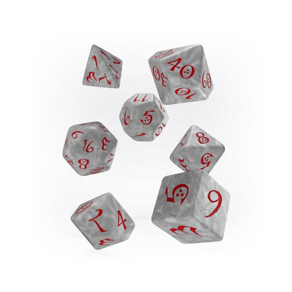 Q-workshop Classic 7 Dice Set - Pearl & Red - Imaginary Adventures