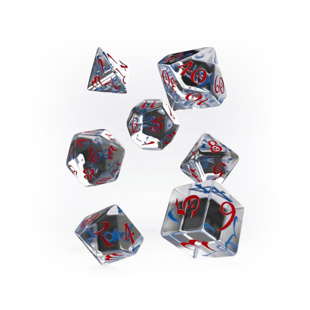 Q-workshop Classic 7 Dice Set - Translucent & Red - Imaginary Adventures