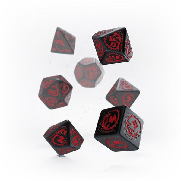 Q-workshop Dragons 7 Dice Set - Black & Red - Imaginary Adventures