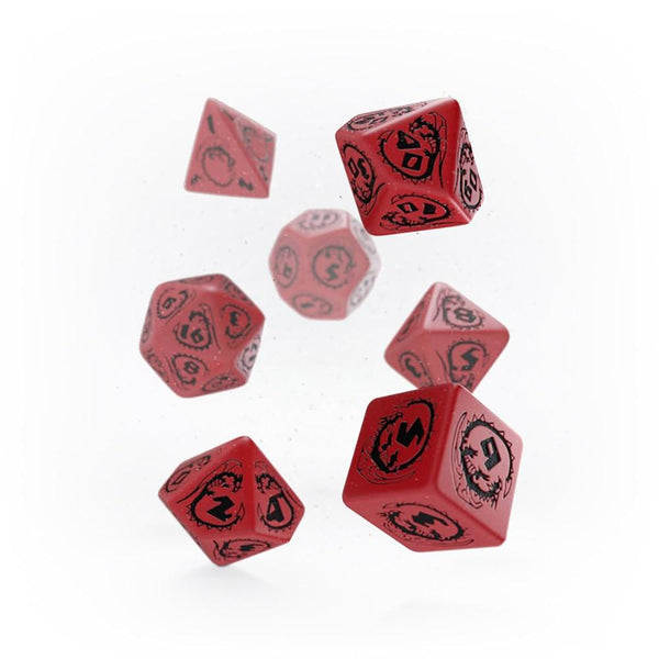 Q-workshop Dragons 7 Dice Set - Red & Black - Imaginary Adventures