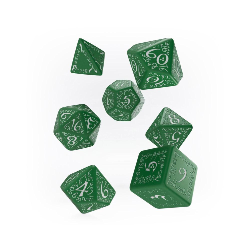 Q-workshop Elvish 7 Dice Set - Green & White