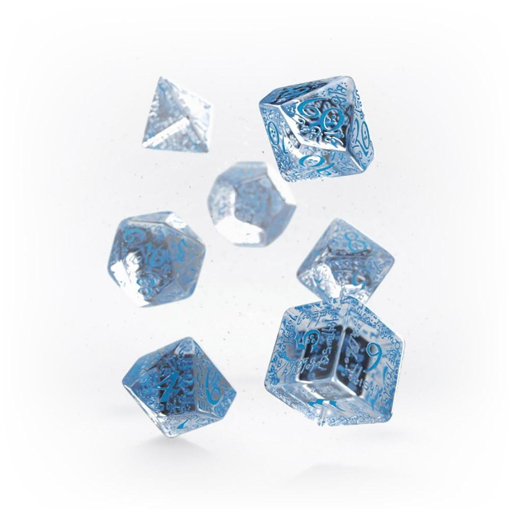 Q-workshop Elvish 7 Dice Set - Translucent Blue - Imaginary Adventures