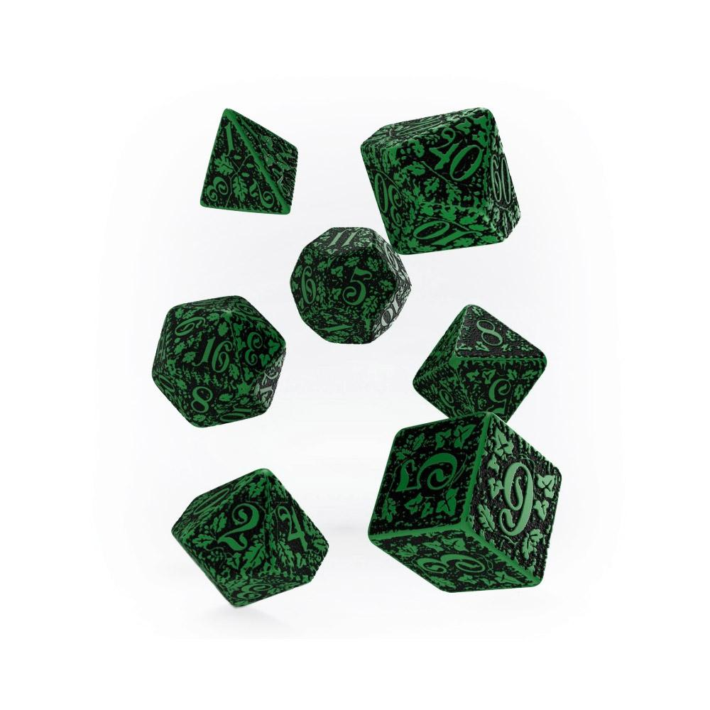 Q-workshop Forest 7 Dice Set - Green & Black - Imaginary Adventures