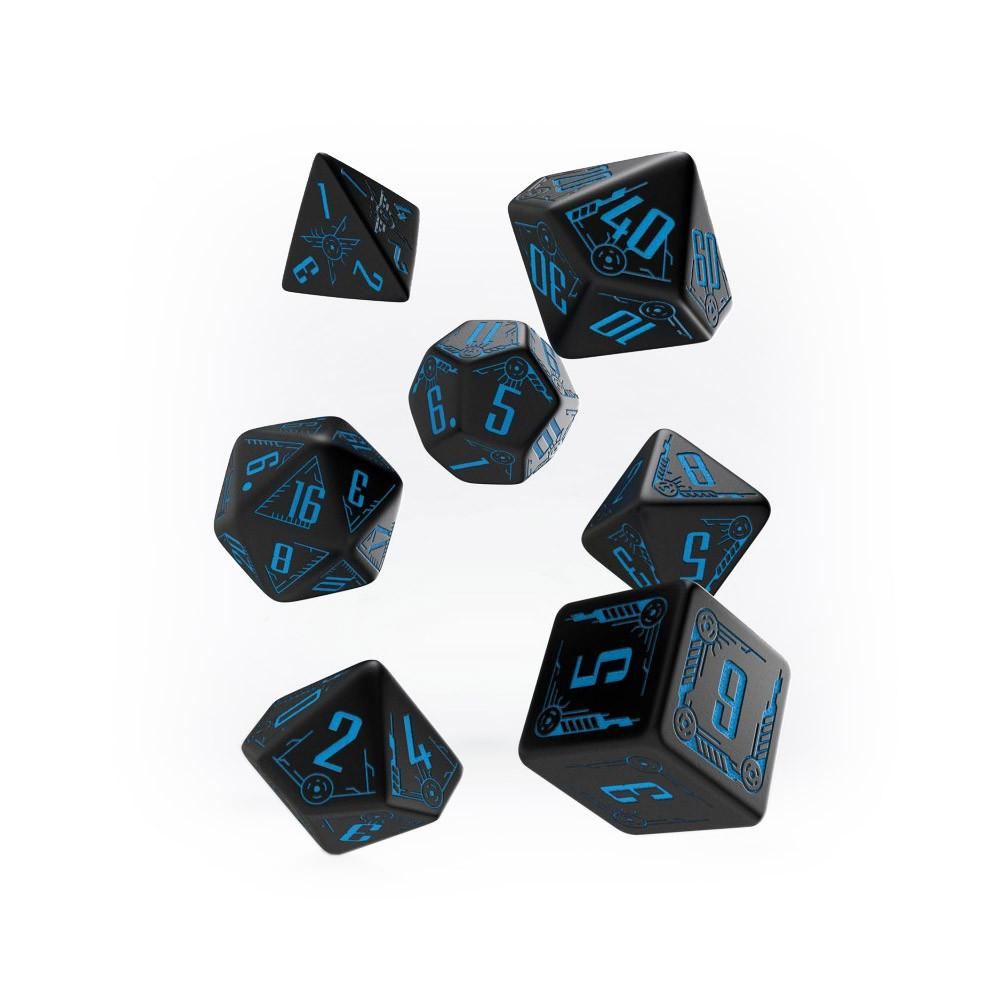 Q-workshop Galactic 7 Dice Set - Black & Blue - Imaginary Adventures