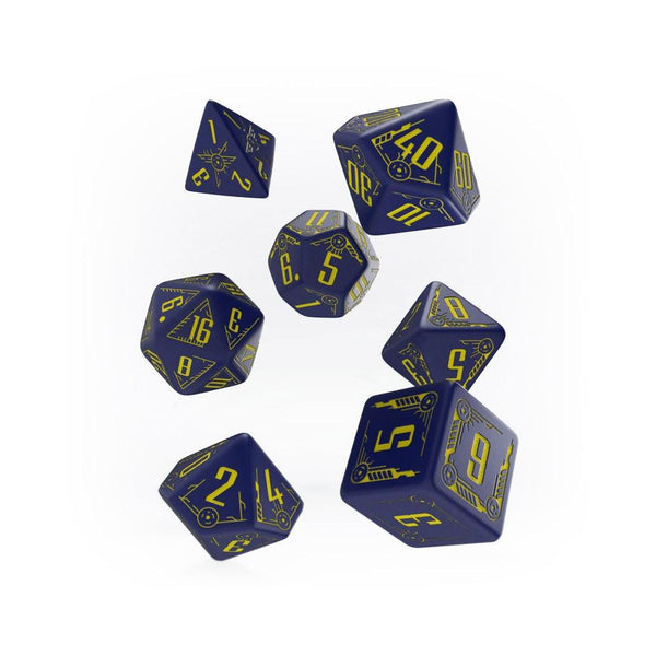 Q-workshop Galactic 7 Dice Set - Navy & Yellow - Imaginary Adventures