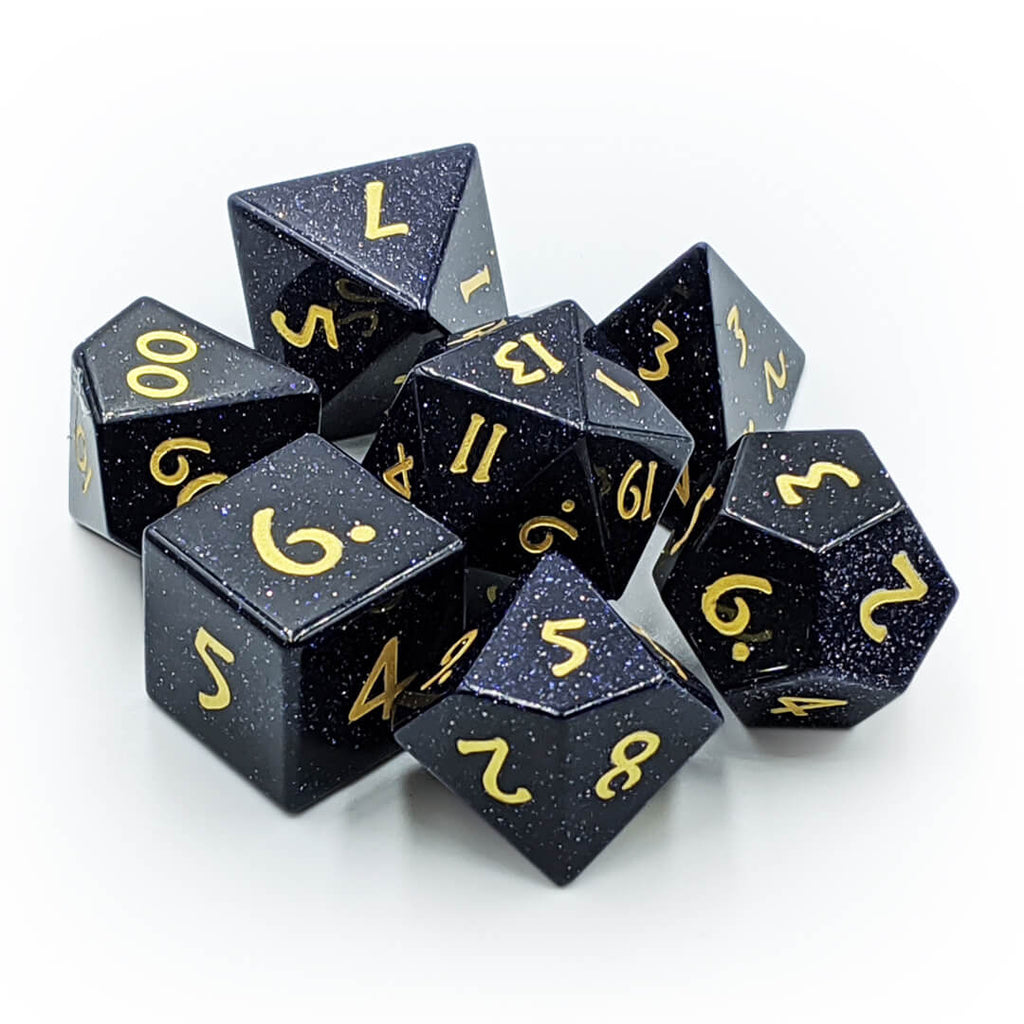 Blue Goldstone Semi-Precious Stone Dice Set