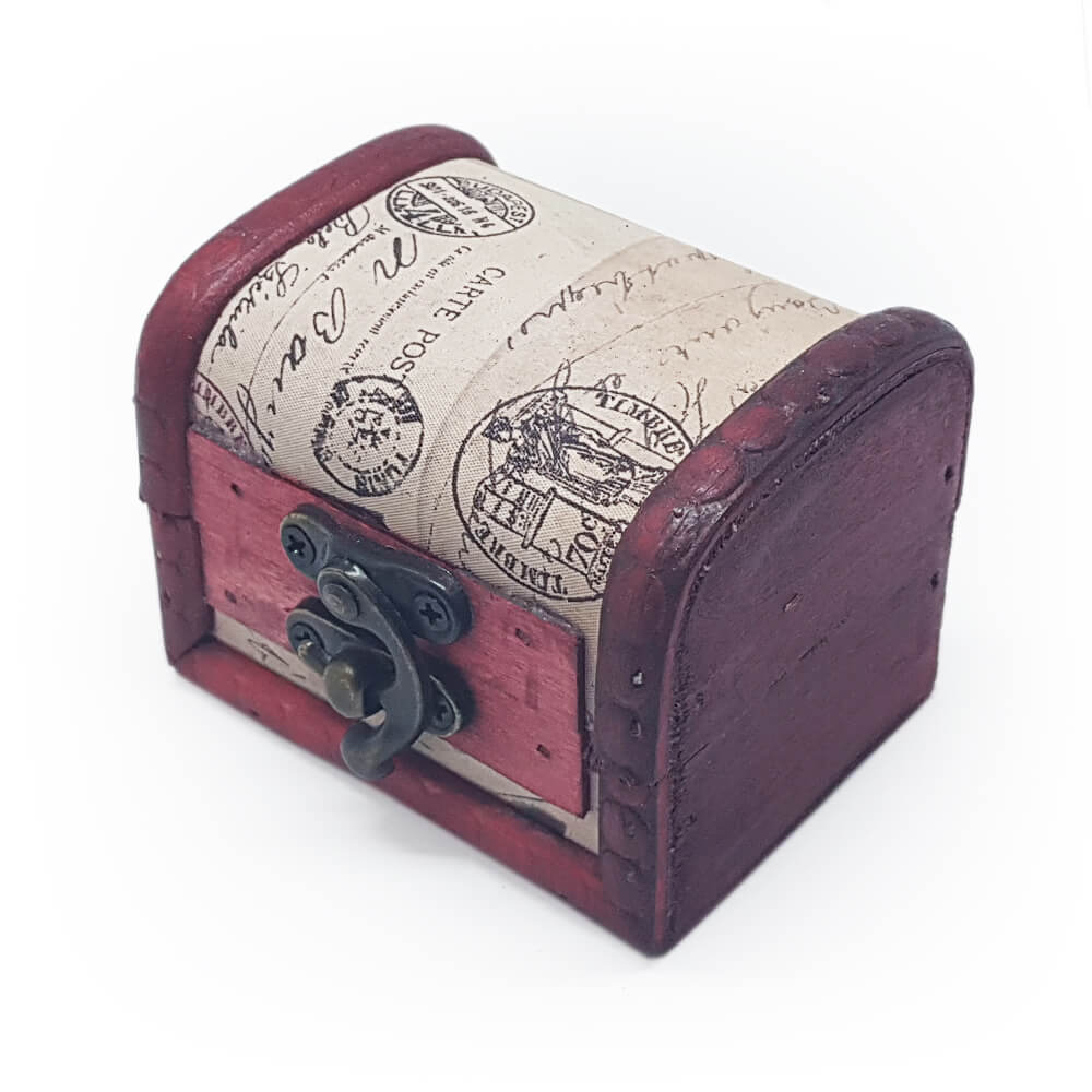Small Wooden Dice Chest - Vintage Pattern - Imaginary Adventures